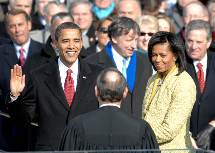 Barack Obama is sworn in as 44th president of the USA