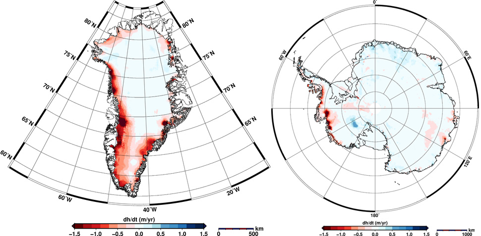 elevation change maps greenland and antarctica