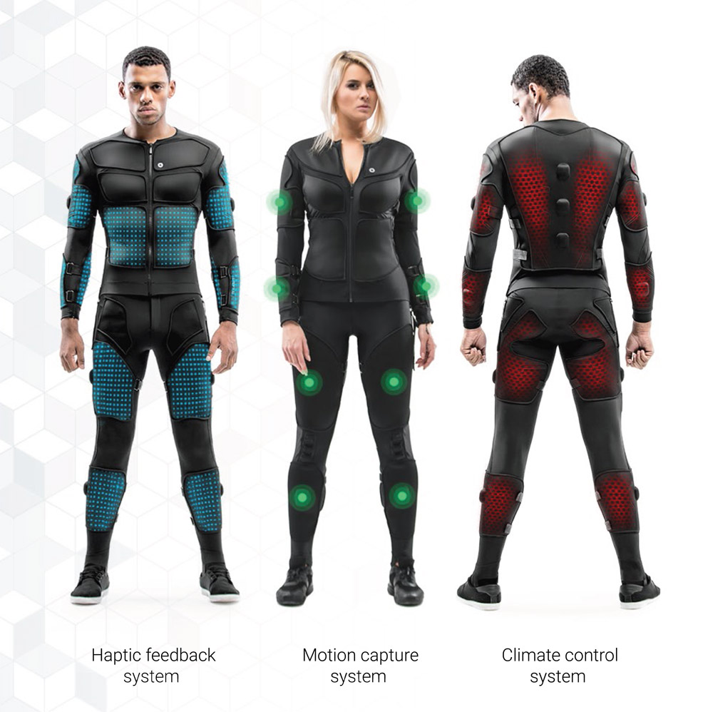 Full-body VR suit features haptic feedback, motion capture and