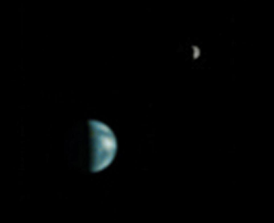 earth and the moon viewed from mars