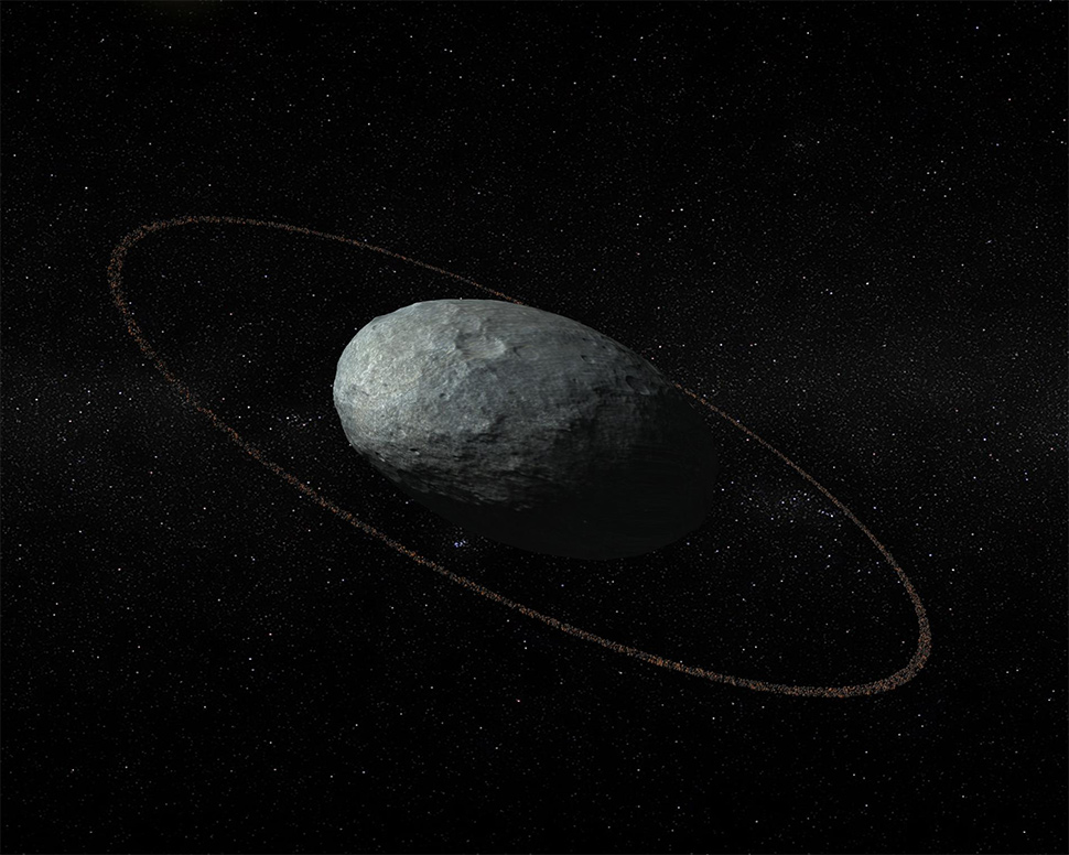 first trans neptunian object with ring system
