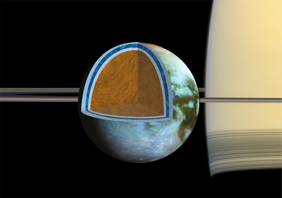 Scientists analysing data from NASA's Cassini mission have firm evidence the ocean inside Saturn's largest moon, Titan, might be as salty as Earth's Dead Sea.